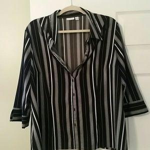 Black and white pin striped blouse Apt 9